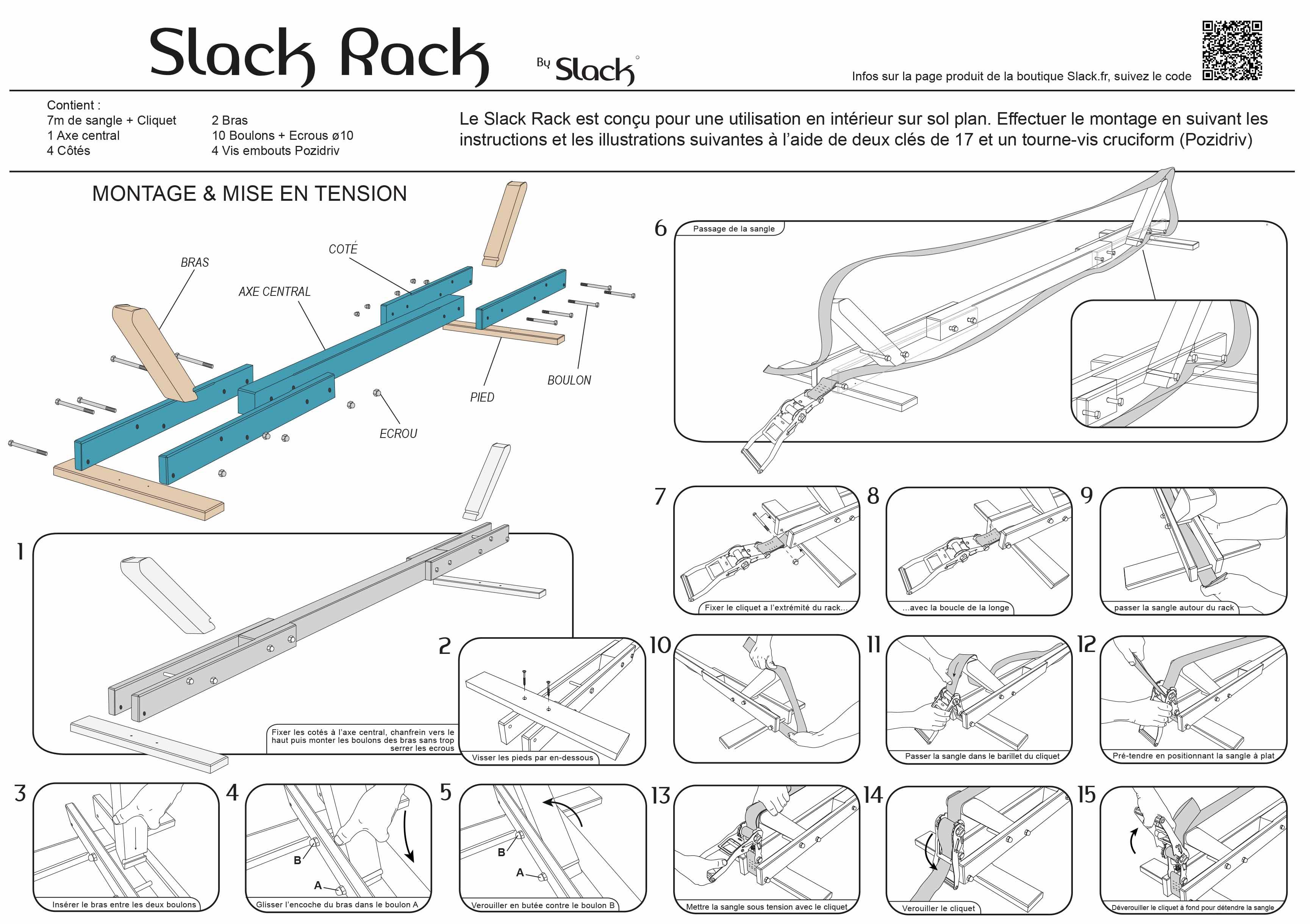 Slackline support rack easy slackline