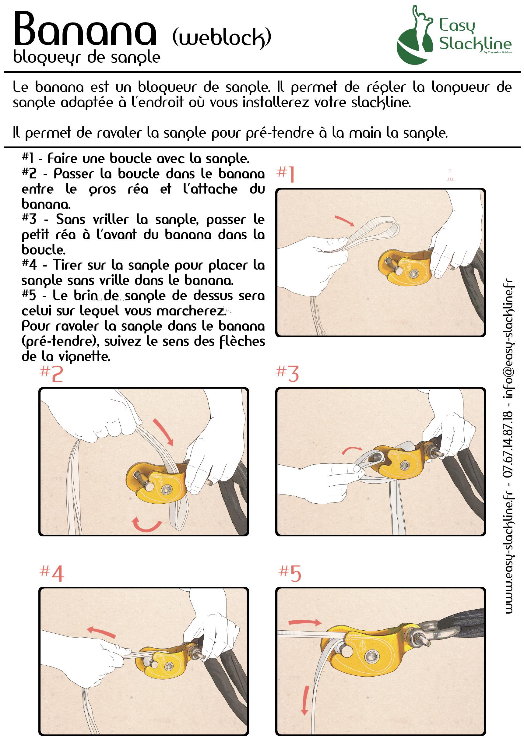 Installation d'un banana - bloqueur de sangle - Easy Slackline