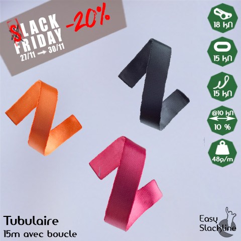 black friday tubulaire 15m easy slackline
